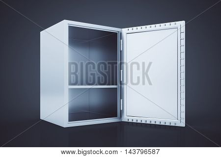 Side view of empty open safe box on dark background. 3D Rendering