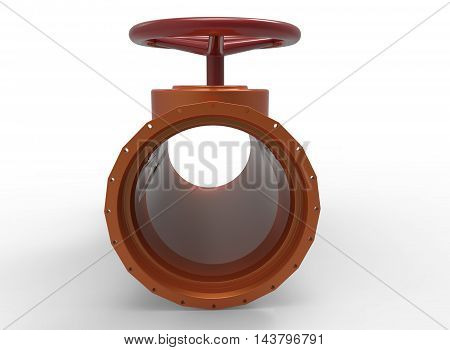 3d illustration of pipe with red valve. white background isolated. icon for game web.