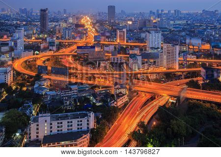 Bangkok Expressway and Highway top view Thailand