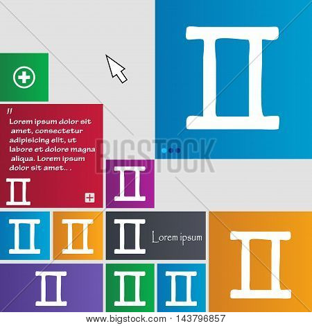 Gemini Icon Sign. Buttons. Modern Interface Website Buttons With Cursor Pointer. Vector