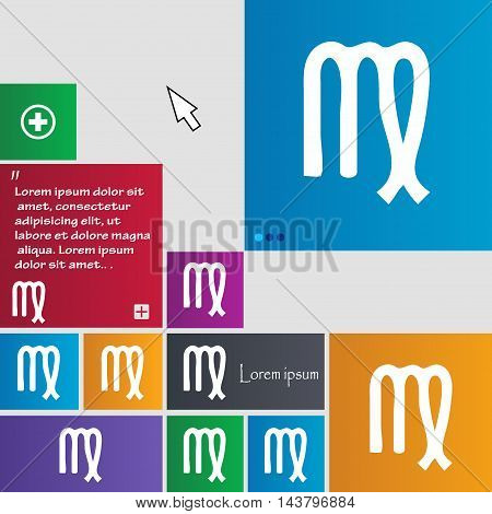 Virgo Icon Sign. Buttons. Modern Interface Website Buttons With Cursor Pointer. Vector