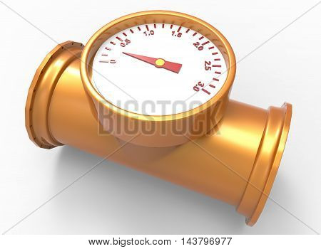 3d illustration of pipe with pressure indicator. white background isolated. icon for game web.