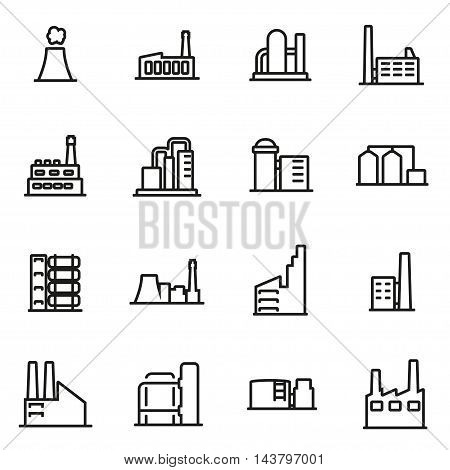 Vector line factory icon set on white background