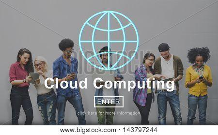 Cloud Computing Technology Online Website Concept