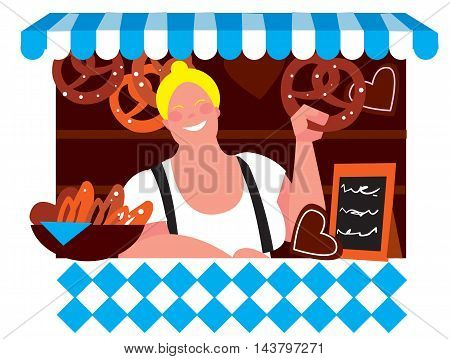 Oktoberfest girl in traditional dirndl dresses with pretzel isolated on white background. Autumn beer festival in Munich, Germany. Vector illustration. Oktoberfest concept. Oktoberfest cartoon characters.