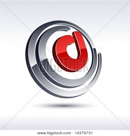 Vector illustration of 3D D symbol.