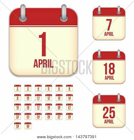 April tear-off calendar vector icons set isolated on white background. Square shape reminder sign for every day.