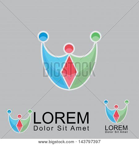 Family Logo Concept, Happy Family icon, Happy Society logo
