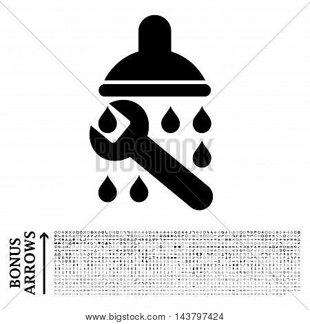 Shower Plumbing icon with 1200 bonus arrow and direction pictograms. Vector illustration style is flat iconic symbols, black color, white background.