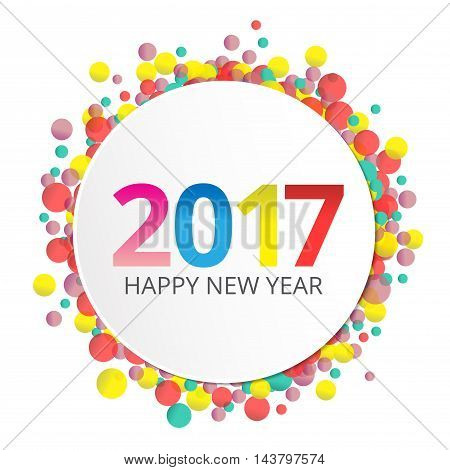 Happy New Year 2017 label on background with colorful bokeh.