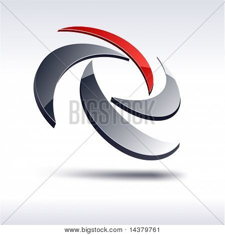Abstract modern 3d rotate emblem. Vector.