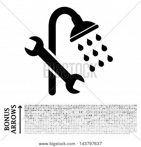 Shower Plumbing icon with 1200 bonus arrow and navigation pictograms. Vector illustration style is flat iconic symbols, black color, white background.