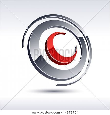 Abstract modern 3d circle emblem. Vector.