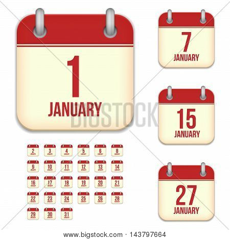 January tear-off calendar vector icons set isolated on white background. Square shape reminder sign for every day.