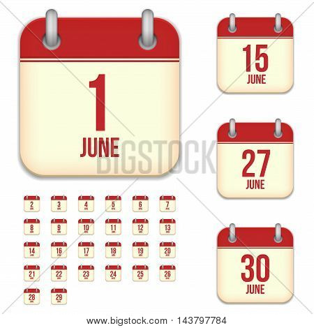 June tear-off calendar vector icons set isolated on white background. Square shape reminder sign for every day.