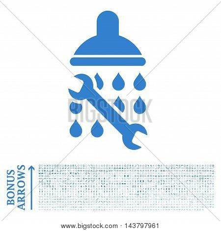 Shower Plumbing icon with 1200 bonus arrow and navigation pictograms. Vector illustration style is flat iconic symbols, cobalt color, white background.