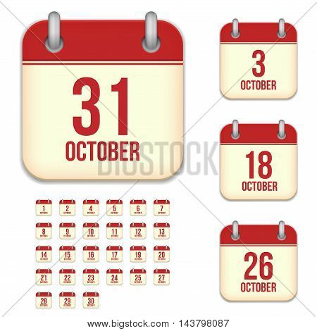 October tear-off calendar vector icons set isolated on white background. Square shape reminder sign for every day.