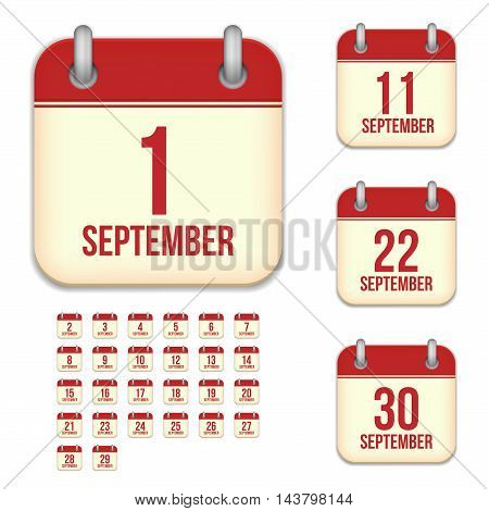 September tear-off calendar vector icons set isolated on white background. Square shape reminder sign for every day.