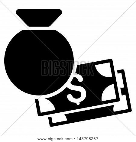 Money Bag icon. Vector style is flat iconic symbol with rounded angles, black color, white background.