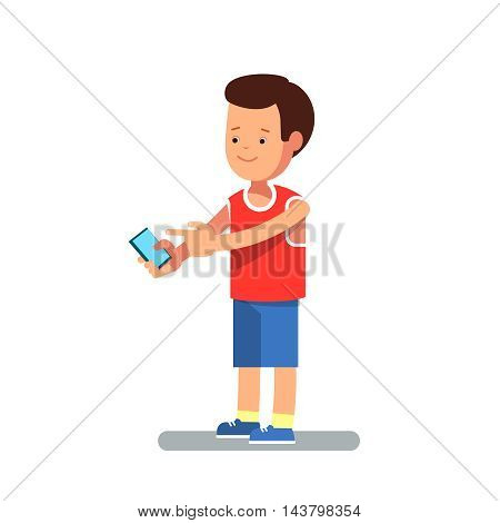 Vector flat illustration of child with a phone in her hands, and modern clothes. Teenager talking on the phone or write a message isolated