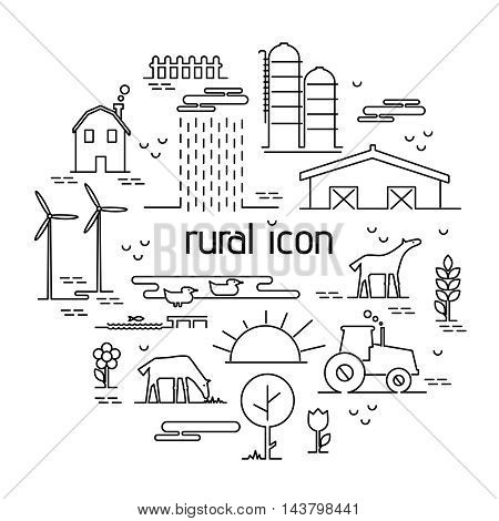 Thin line flat design rural landscape icon. Set elements with house and wind mill, tractor, sun and farm animals. Vector illustration icons style thin lines with possibility adjusting thickness of line