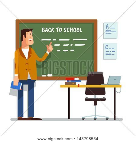 Vector illustration of a teacher in the classroom at the blackboard explaining the lesson or lecture isolated