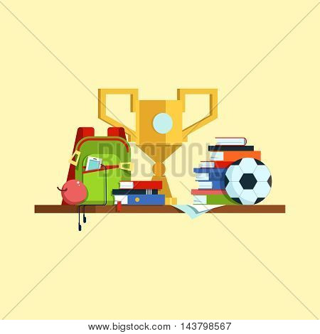 Group of set school supplies, book, a white background