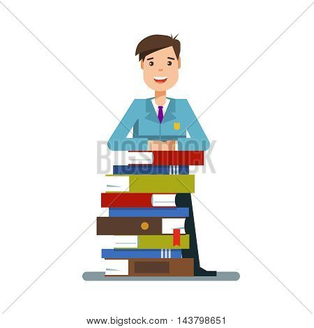 Young teen man or student standing next to a stack of book isolated on white background. Vector illustration flat design