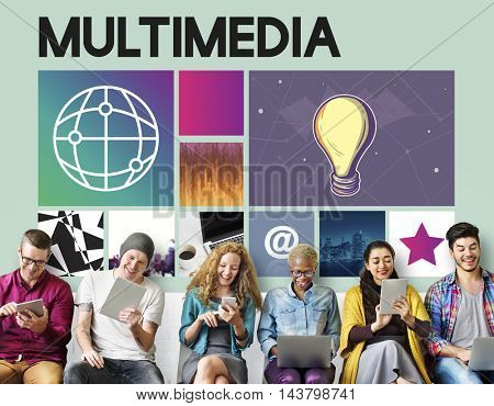 Cyberspace Diversity Multimedia Concept