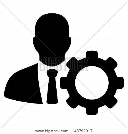 Serviceman icon. Vector style is flat iconic symbol with rounded angles, black color, white background.