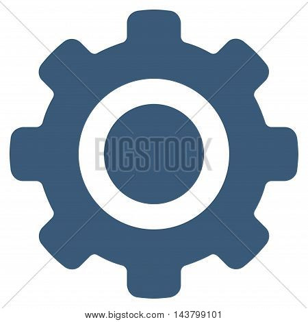 Gear icon. Vector style is flat iconic symbol with rounded angles, blue color, white background.
