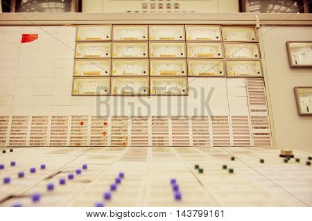 ZWENTENDORF, AUSTRIA - JUNE 1, 2013: Control panel of engireers room of the Zwentendorf Nuclear Power Plant on June 1, 2013. Atomic power plant was built in 1976 with hot water reactor 723 MW's gross power