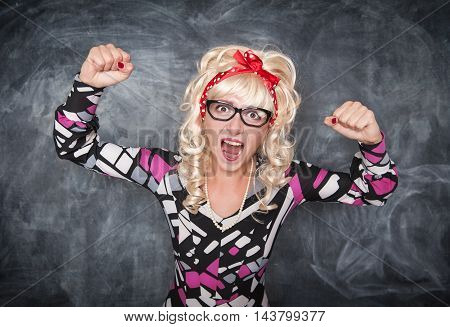 Angry Screaming Retro Teacher