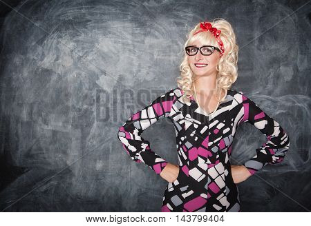 Retro Teacher In Glasses Smiling