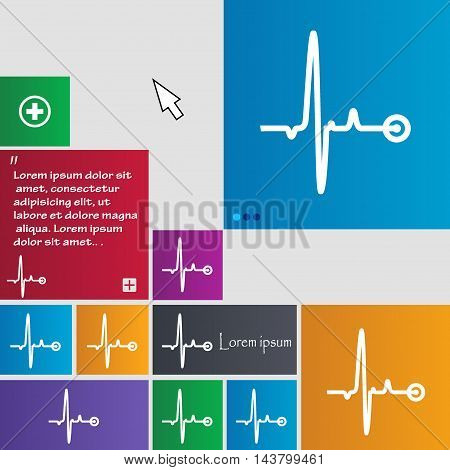 Heartbeat Icon Sign. Buttons. Modern Interface Website Buttons With Cursor Pointer. Vector