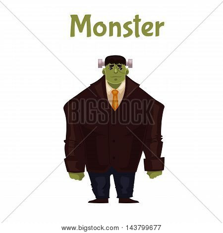 Man dressed in monster costume for Halloween, cartoon style vector illustration isolated on white background. Monster, zombie, Frankenstein character for Halloween carnival