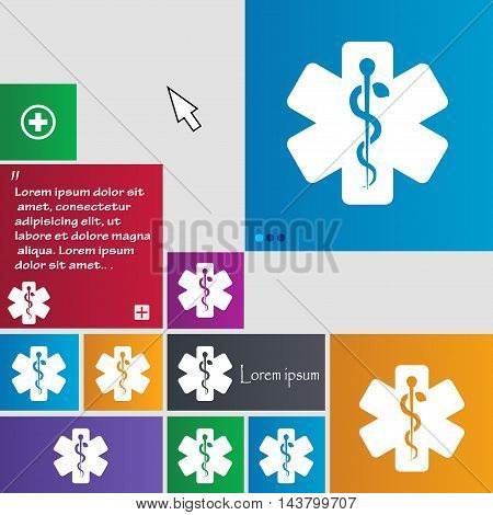 Medicine Icon Sign. Buttons. Modern Interface Website Buttons With Cursor Pointer. Vector