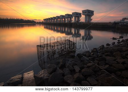 A beautiful morning Floodgates, Nakhon Si Thammarat, Thailand irrigation.