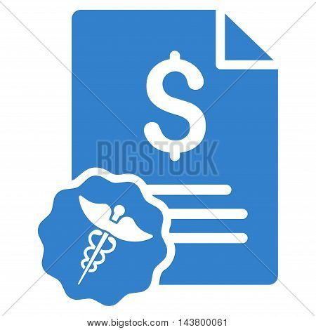 Medical Invoice icon. Vector style is flat iconic symbol with rounded angles, cobalt color, white background.