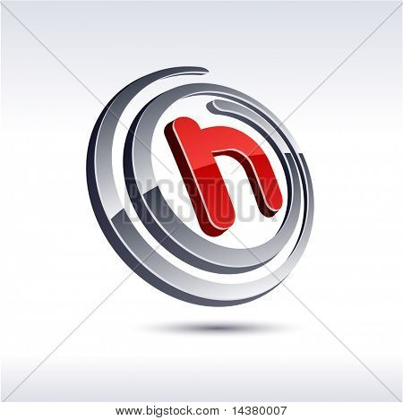 Vector illustration of 3D h symbol.