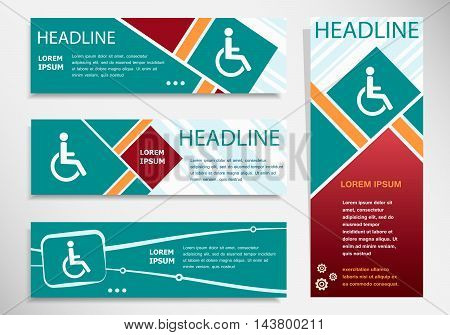 Disabled Handicap Icon On Horizontal And Vertical Banner