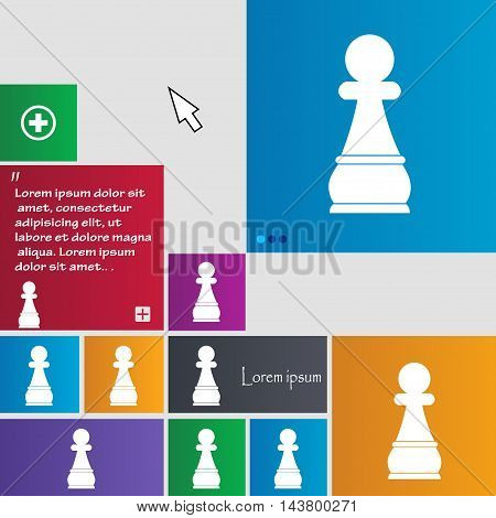 Chess Pawn Icon Sign. Buttons. Modern Interface Website Buttons With Cursor Pointer. Vector