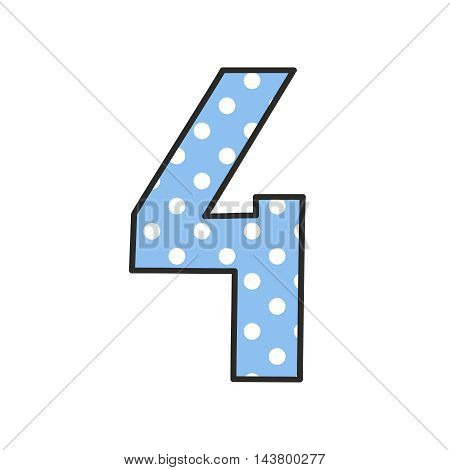 Hand drawn vector number 4 with polka dots on pastel blue isolated on white background