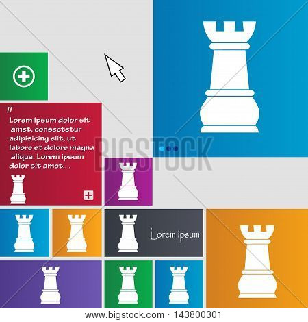 Chess Rook Icon Sign. Buttons. Modern Interface Website Buttons With Cursor Pointer. Vector