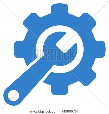 Tools icon. Vector style is flat iconic symbol with rounded angles, cobalt color, white background.