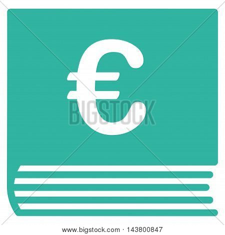 Euro Sales Book icon. Vector style is flat iconic symbol with rounded angles, cyan color, white background.