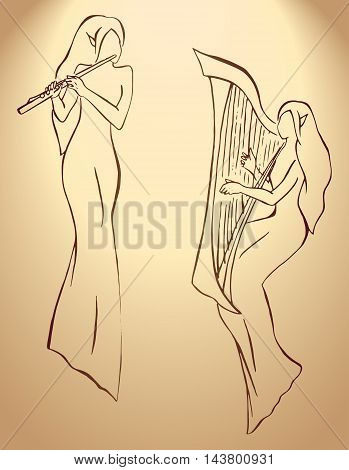 Elves minstrels with harp and flute line art vector