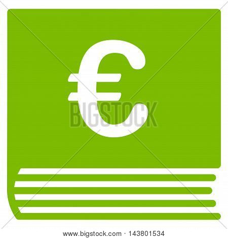 Euro Sales Book icon. Vector style is flat iconic symbol with rounded angles, eco green color, white background.