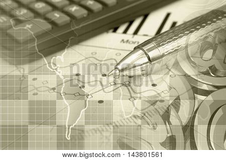Financial background in sepia with map mail signs graph and pen.