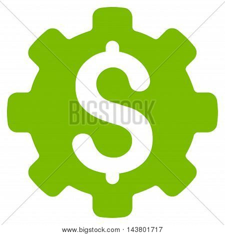 Industrial Capital icon. Vector style is flat iconic symbol with rounded angles, eco green color, white background.